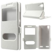 Кожен калъф за Lenovo A6000/A6010 - бял