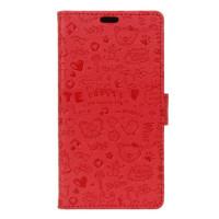 Кожен калъф за  Lenovo K6 - червен