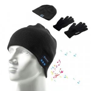 Шапка с блутут слушалки и Touch Screen ръкавици - черни