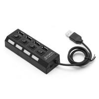 4 портов високоскоростен USB 2.0 HUB за лаптоп или настолен компютър - черен